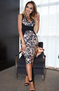 Classic Leopard Print Bodycon Illusion Midi Dress