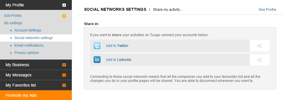 Social networks settings panel
