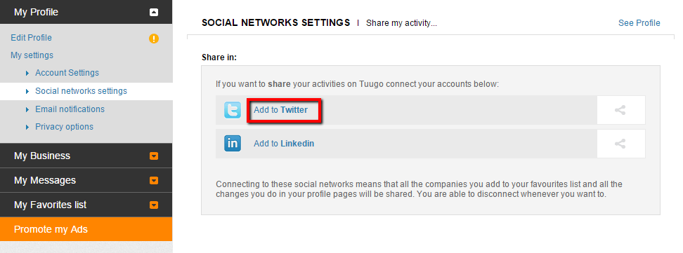 Social networks settings - Add to social networks