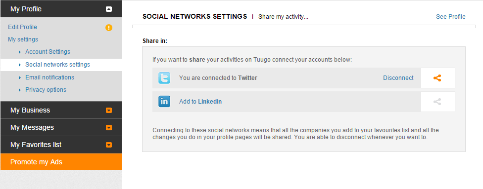 Social networks settings - You are connected