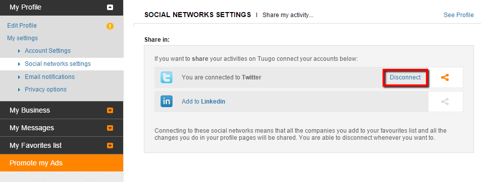 Social networks settings - Disconnect